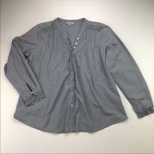 Dress Barn Boho Dusty Blue Long Sleeve Top EUC